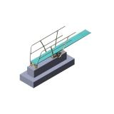 Трамплин для прыжков в воду 1 м высотой, с поручнями